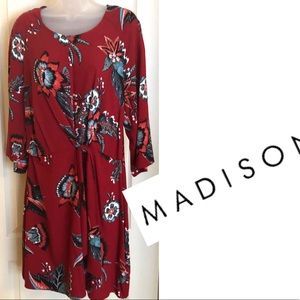 Madison Dresses - Red Dress MADISON Faux Tie Front NWT